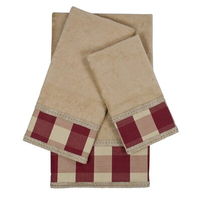 Holbrook Checkered Cord 3 Piece Towel Set Color: Taupe/Red