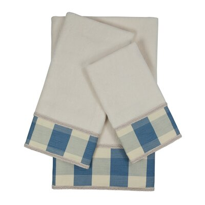 Holbrook Checkered Cord 3 Piece Towel Set Color: White/Blue