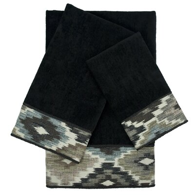 Maricopa Embellished 3 Piece Towel Set Color: Black