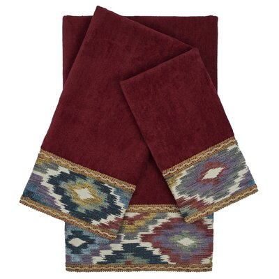 Maricopa Embellished 3 Piece Towel Set Color: Red