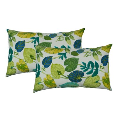 Tropics Outdoor Boudoir Pillow Color: White/Green