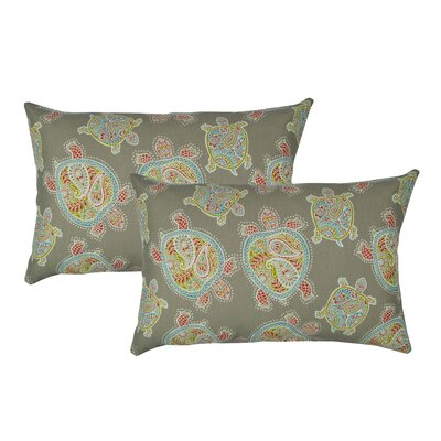 Sea Turtles Outdoor Boudoir Pillow Color: Coral Grey