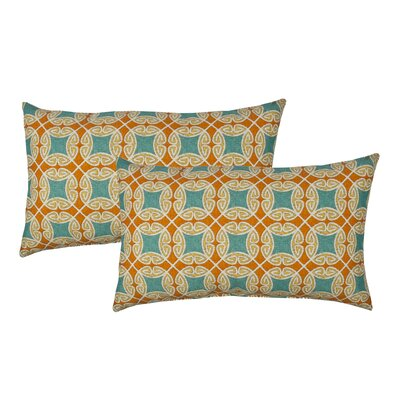 Circle Time Blue Outdoor Boudoir Pillow Color: Orange/Blue