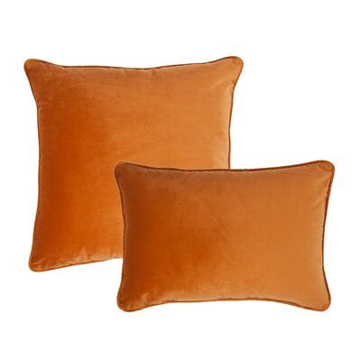 Glendon 2 Piece Velvet Throw Pillow Set Color: Inka Gold