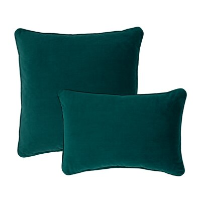 Glendon 2 Piece Velvet Throw Pillow Set Color: Teal