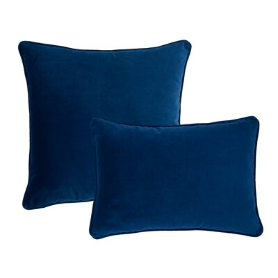 Glendon 2 Piece Velvet Throw Pillow Set Color: Indigo