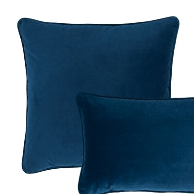 Glendon Velvet Throw Pillow Color: Spruce Blue