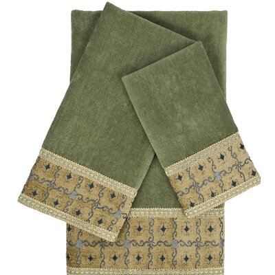 Gateway Sage Embellished 3 Piece Towel Set