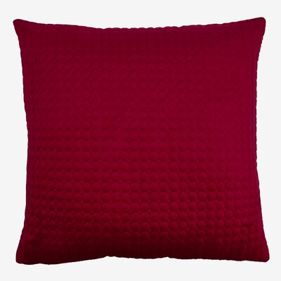 Embroidered Circle Velvet Throw Pillow Color: Red
