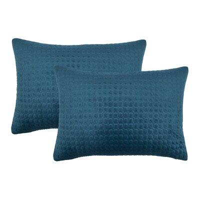 Embroidered Circle Velvet Lumbar Pillow Color: Indigo Blue