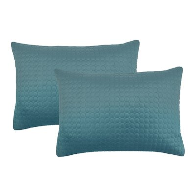 Embroidered Circle Velvet Lumbar Pillow Color: Atlantic Blue