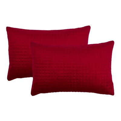 Embroidered Circle Velvet Lumbar Pillow Color: Red