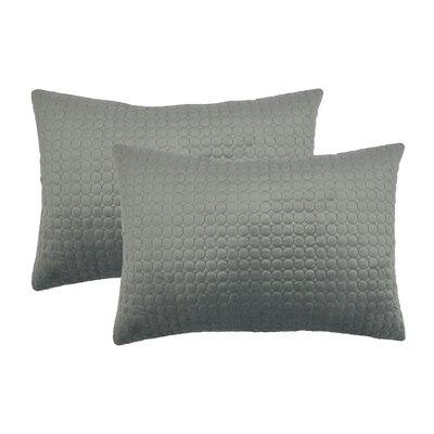Embroidered Circle Velvet Lumbar Pillow Color: Silver Gray