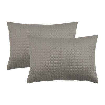 Embroidered Circle Velvet Lumbar Pillow Color: Taupe Gray