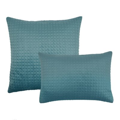 2 Piece Embroidered Circle Velvet Pillow Set Color: Atlantic Blue