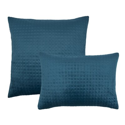 2 Piece Embroidered Circle Velvet Pillow Set Color: Indigo Blue
