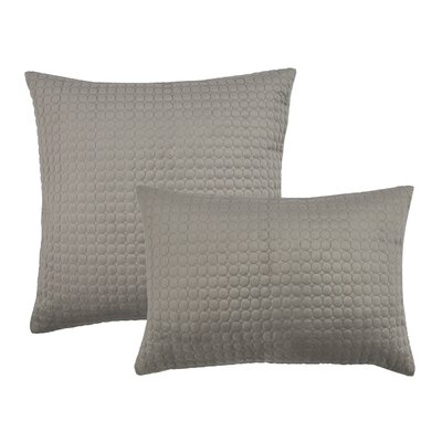 2 Piece Embroidered Circle Velvet Pillow Set Color: Taupe Gray