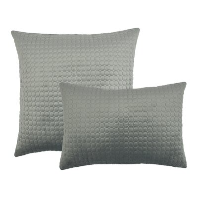 2 Piece Embroidered Circle Velvet Pillow Set Color: Silver Gray