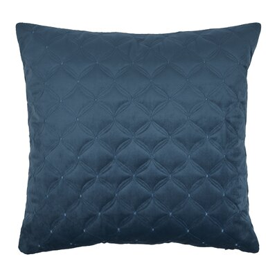 Embroidered Diamond Velvet Throw Pillow Color: Indigo Blue