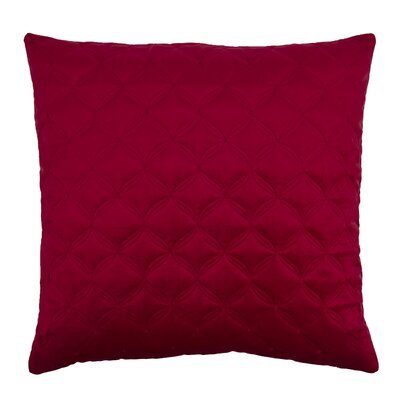 Embroidered Diamond Velvet Throw Pillow Color: Red