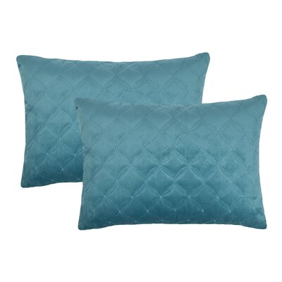 Embroidered Diamond Velvet Boudoir Throw Pillow Color: Atlantic Blue