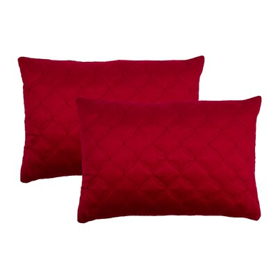 Embroidered Diamond Velvet Boudoir Throw Pillow Color: Red