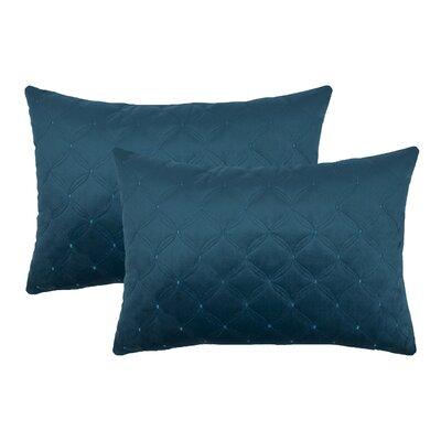 Embroidered Diamond Velvet Boudoir Throw Pillow Color: Indigo Blue