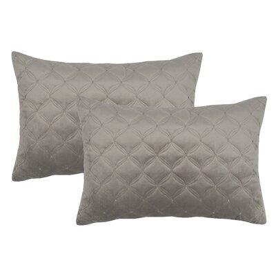 Embroidered Diamond Velvet Boudoir Throw Pillow Color: Taupe Gray