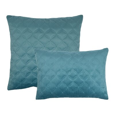 2 Piece Embroidered Diamond Velvet Pillow Set Color: Atlantic Blue