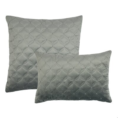 2 Piece Embroidered Diamond Velvet Pillow Set Color: Silver Gray