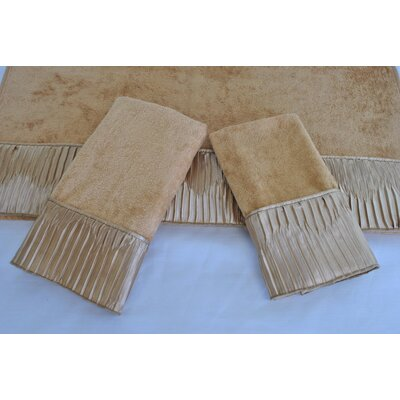 Vertical Pleats Ecru Decorative 3 Piece Towel Set Color: Gold