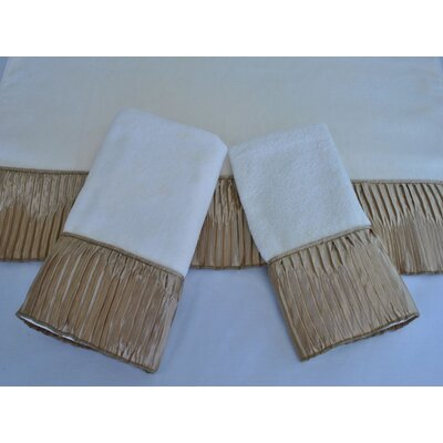 Vertical Pleats Ecru Decorative 3 Piece Towel Set Color: Ecru