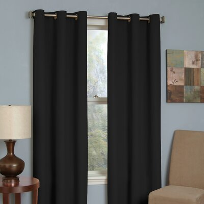 Grommet  Curtains on Eclipse Curtains Microfiber Grommet Blackout Window Panel In Black