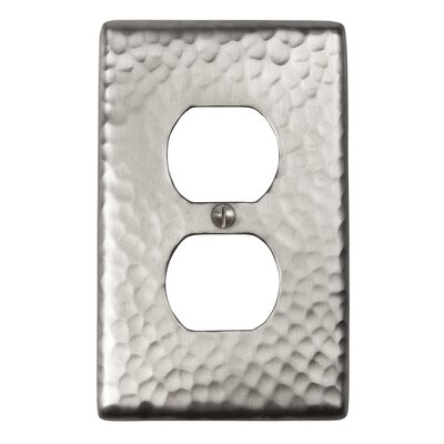 Hammered Copper Single Duplex Receptacle Plate Finish: Satin Nickel