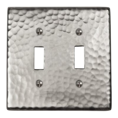 Hammered Copper Double Switch Plate Finish: Satin Nickel