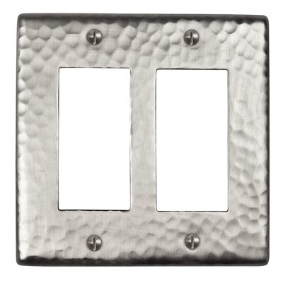 Hammered Copper Double GFCI Plate Finish: Satin Nickel