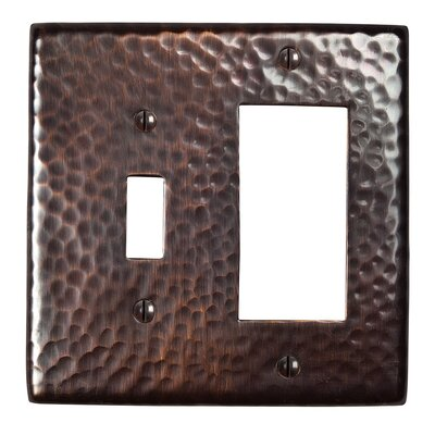 Hammered Copper Single Switch and GFCI Combination Plate Finish: Antique Copper