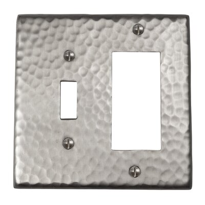 Hammered Copper Single Switch and GFCI Combination Plate Finish: Satin Nickel