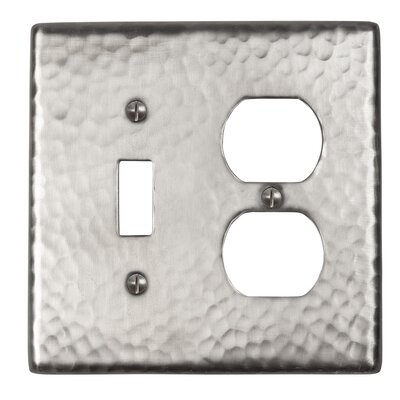 Hammered Copper Single Switch and Duplex Receptacle Combination Plate Finish: Satin Nickel