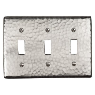Hammered Copper Triple Switch Plate Finish: Satin Nickel