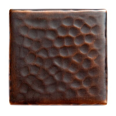 Solid Hammered Copper 2 x 2 Decorative Accent Tile in Antique Copper