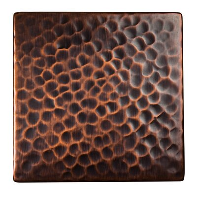 Solid Hammered Copper 4 x 4 Decorative Accent Tile in Antique Copper