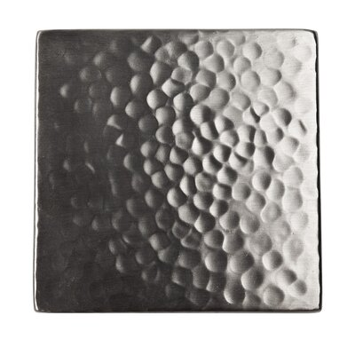 Solid Hammered Copper 4 x 4 Decorative Accent Tile in Satin Nickel