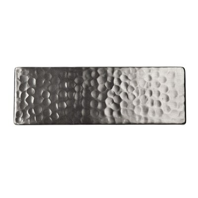 Solid Hammered Copper 6 x 2 Decorative Accent Tile in Satin Nickel