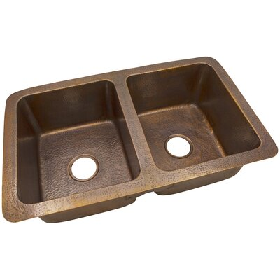 34 x 21 Solid Hand Hammered Large Double Bowl Drop-In /Undermount Kitchen Sink
