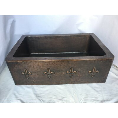 Single Bowl Hand Hammered Copper 21 x 18 Farmhouse/Apron Kitchen Sink