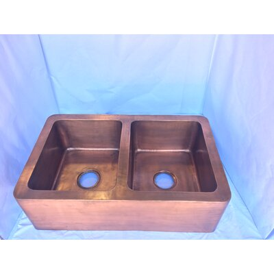 Double Bowl Solid Copper Kitchen Apron Front Sink in Antique Copper Finish