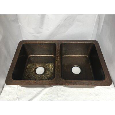 Double Bowl Dark Antique Copper Hand Hammered Drop in or Undermount Kitchen Sink Finish: Dark Antique Copper