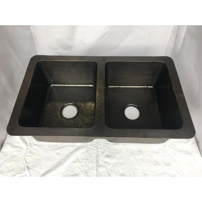 Hammered 34 x 21 Double Basin Drop-In Kitchen Sink