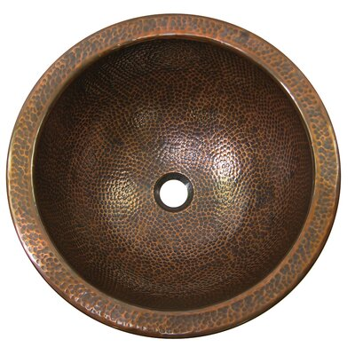 Large Circular Undermount Bathroom Sink with Overflow Sink Finish: Antique Copper